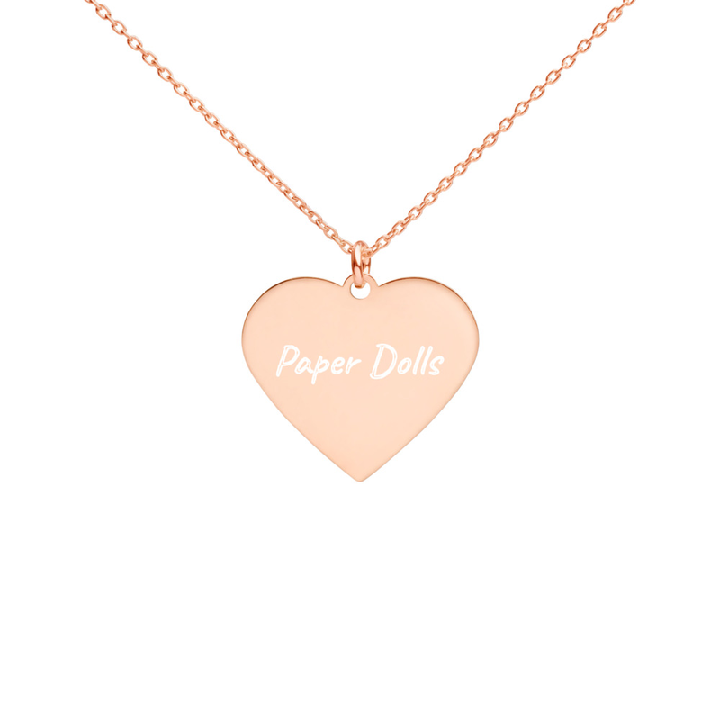 Engraved Paper Dolls Silver Heart Necklace