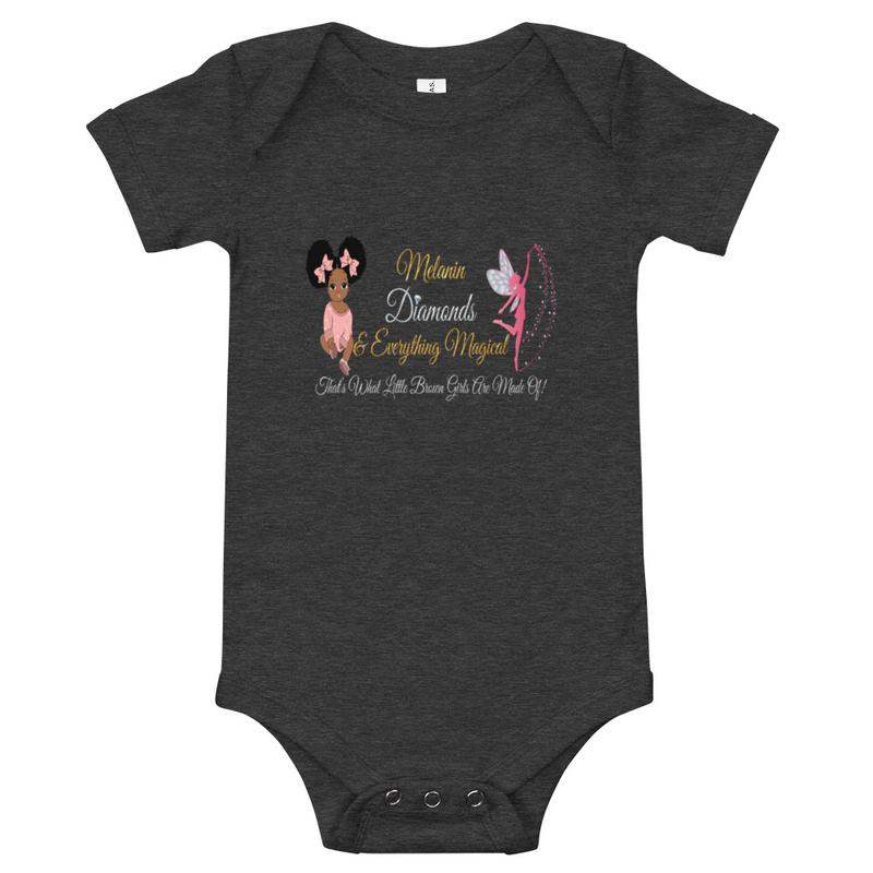 Princess Melanin Affirmation PINK Baby short sleeve one piece