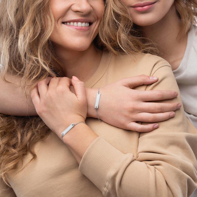 HONESTGANG Engraved Silver Bar Chain Bracelet