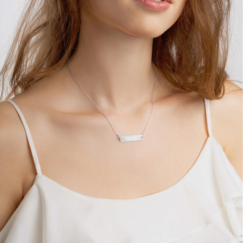 Engraved Silver Bar Chain Necklace (Sakura Ryoko)