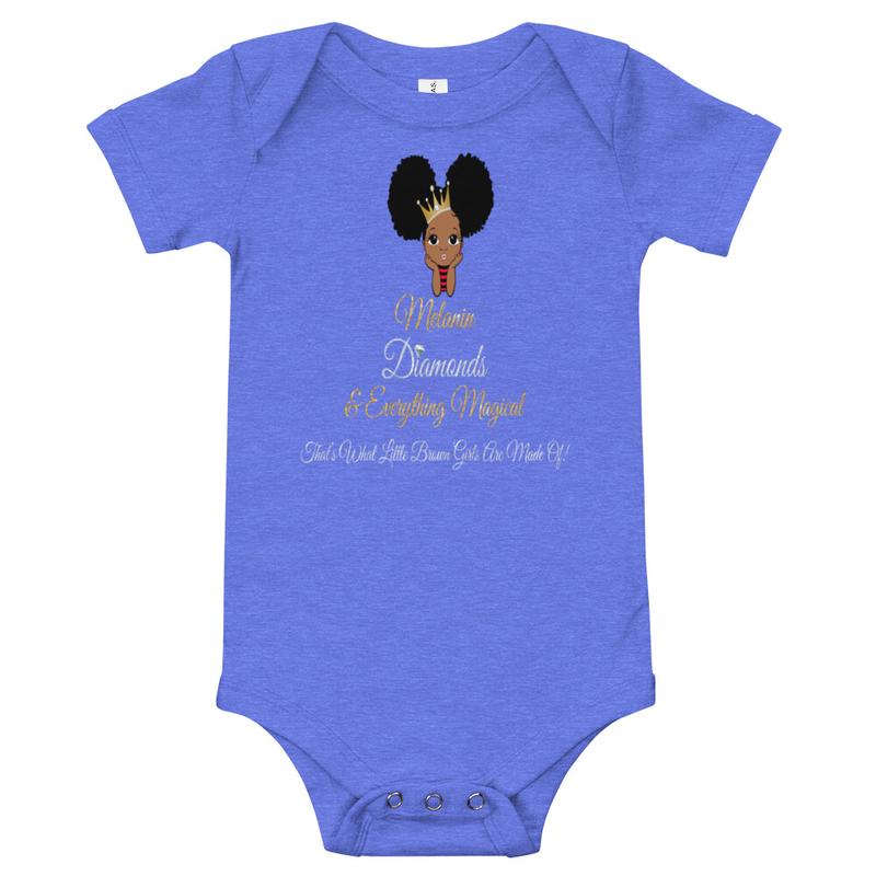 Princess Melanin Affirmation Baby short sleeve one piece
