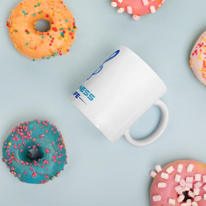 Happiness to Life White glossy mug
