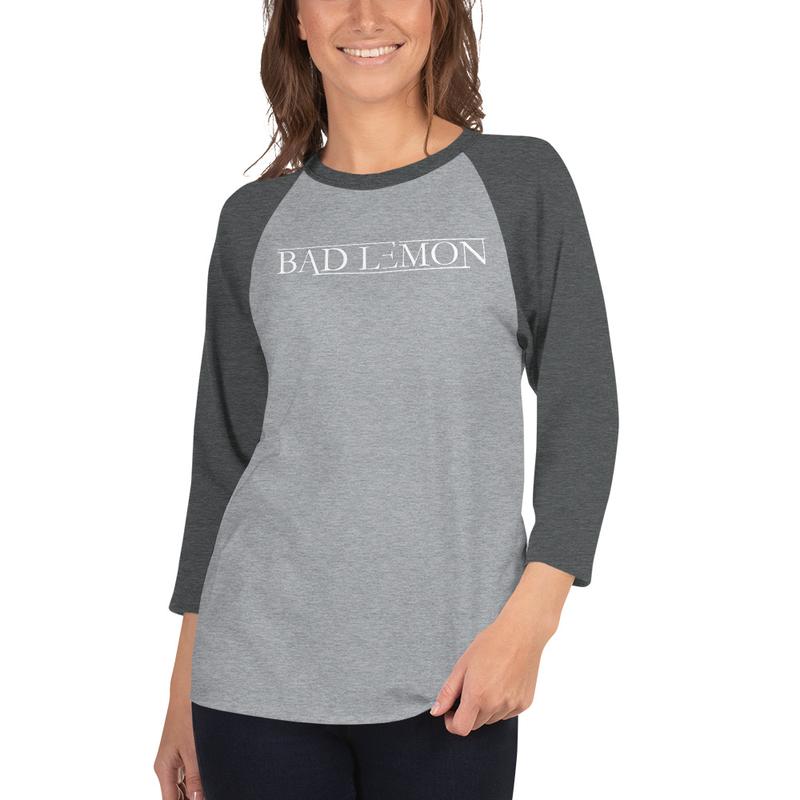 Bad Lemon Unisex Dual Color 3/4 T-shirts w-Icon-WHT