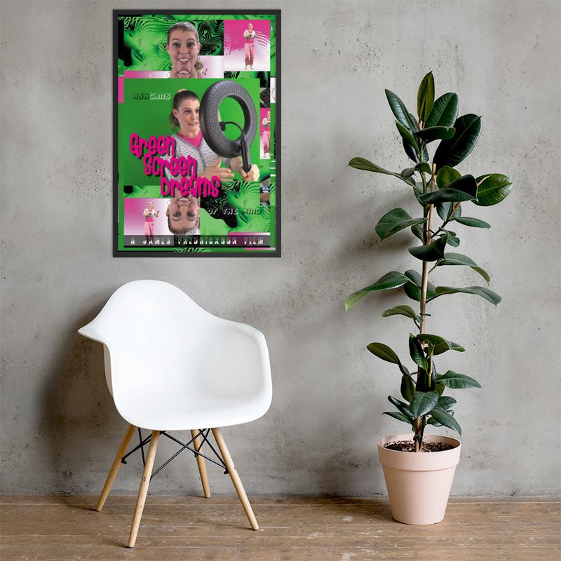 Green Screen Dreams framed (Black/White) poster 24 in. x 36 in.