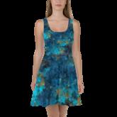 POEFASHION® Apache Blue Turquoise Skater Dress