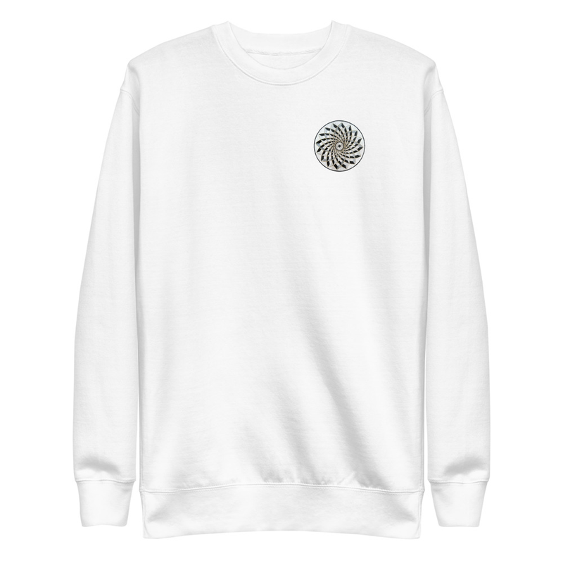 Fleece Sweatshirt with Mosaic on Front and Emerald Suspension on Back
