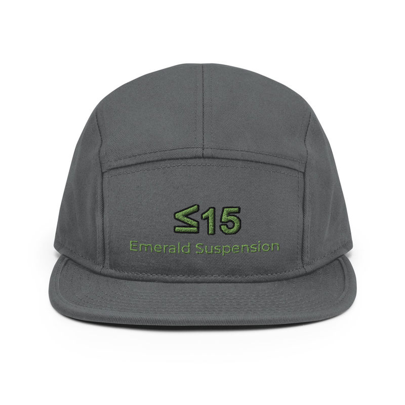 5 Panel Cap with ≤15 and Emerald Suspension embroidered