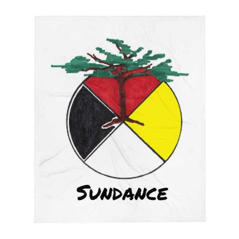 Medicine Wheel-Tree (Support Sundance) - Throw Blanket