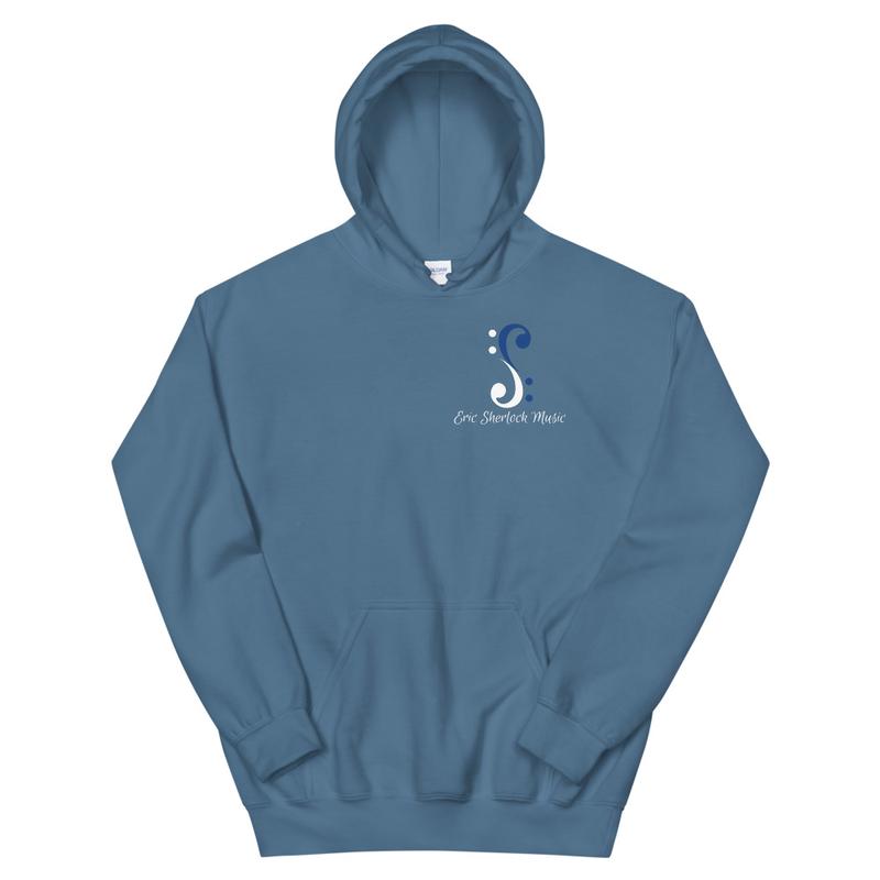 Bass Cleff Logo (White / Blue) - Hoodie