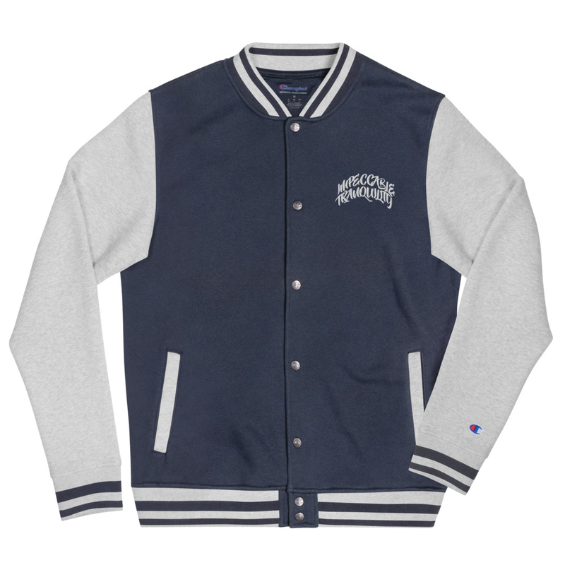 Impeccable Tranquility Embroidered Champion Bomber Jacket Navy