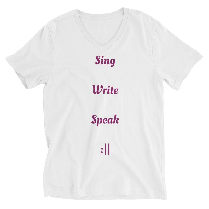 Sing Write Speak Repeat Unisex Short Sleeve V-Neck T-Shirt