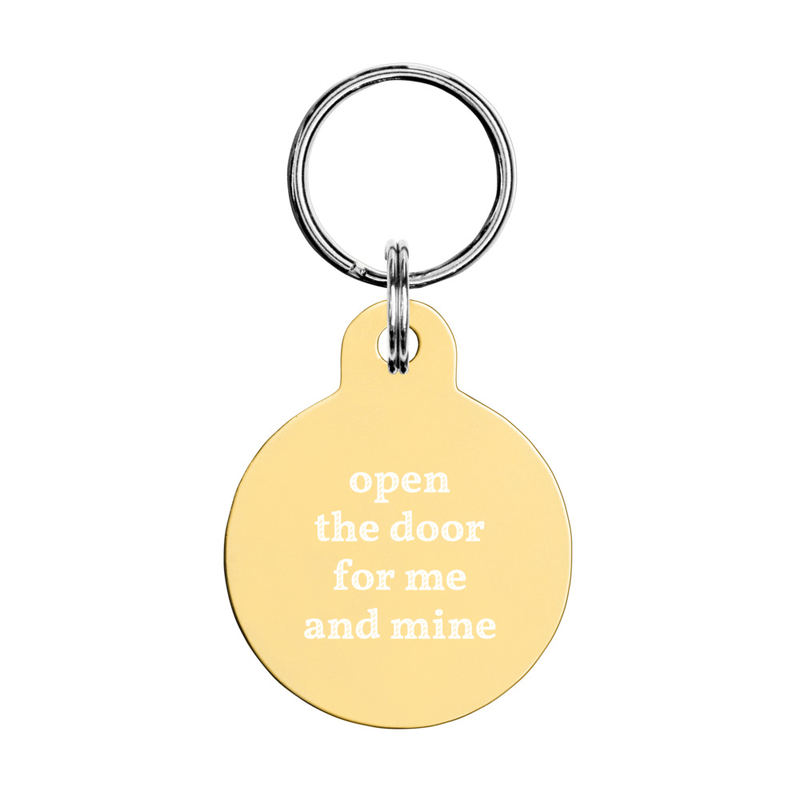 Engraved key chain: open the door for me and mine