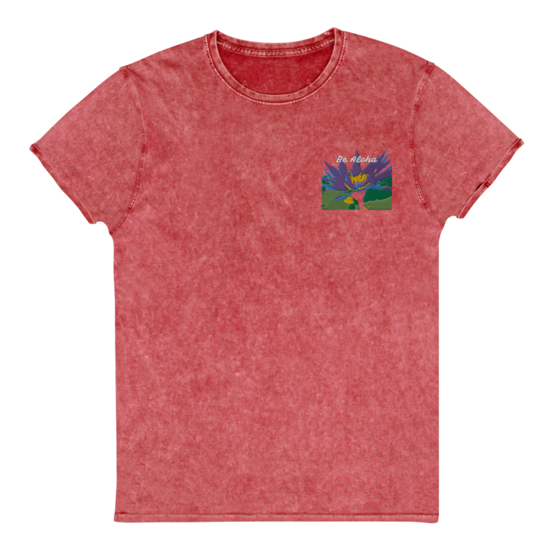 Be Aloha - Embroidered Denim T-Shirt