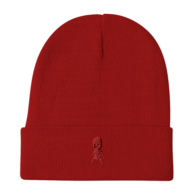 Beanie with embroidered doll