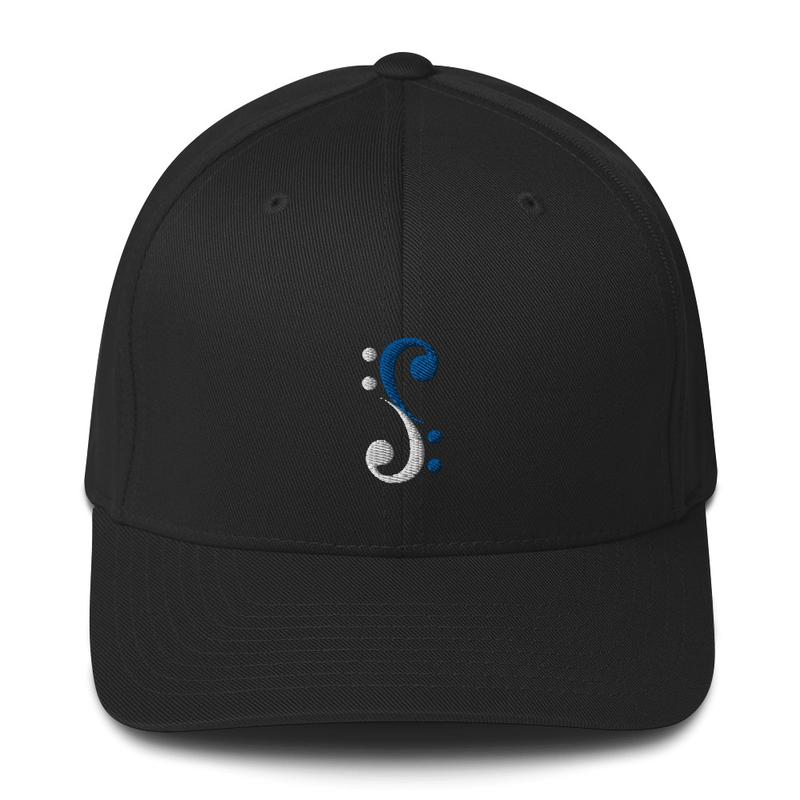 Bass Cleff Logo (White / Blue) - Flexfit Hat