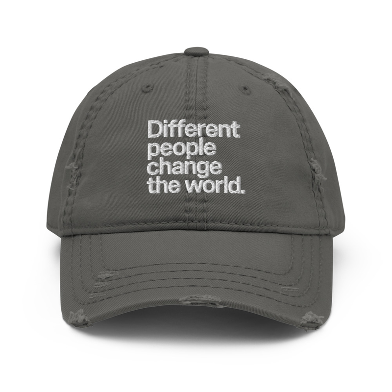 """Different People Change The World"" Embroidered Distressed Cap"