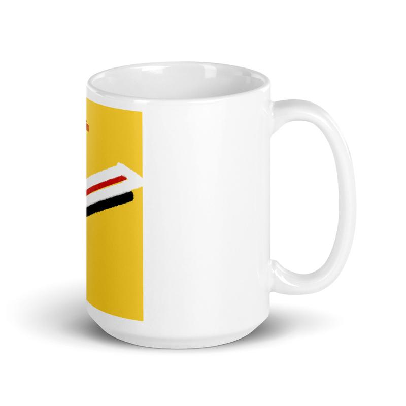 White glossy mug - On the Bullet Train