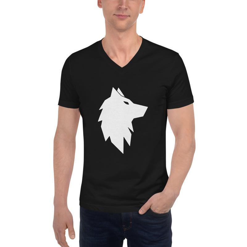 Wolf Unisex V-Neck T-Shirt Black
