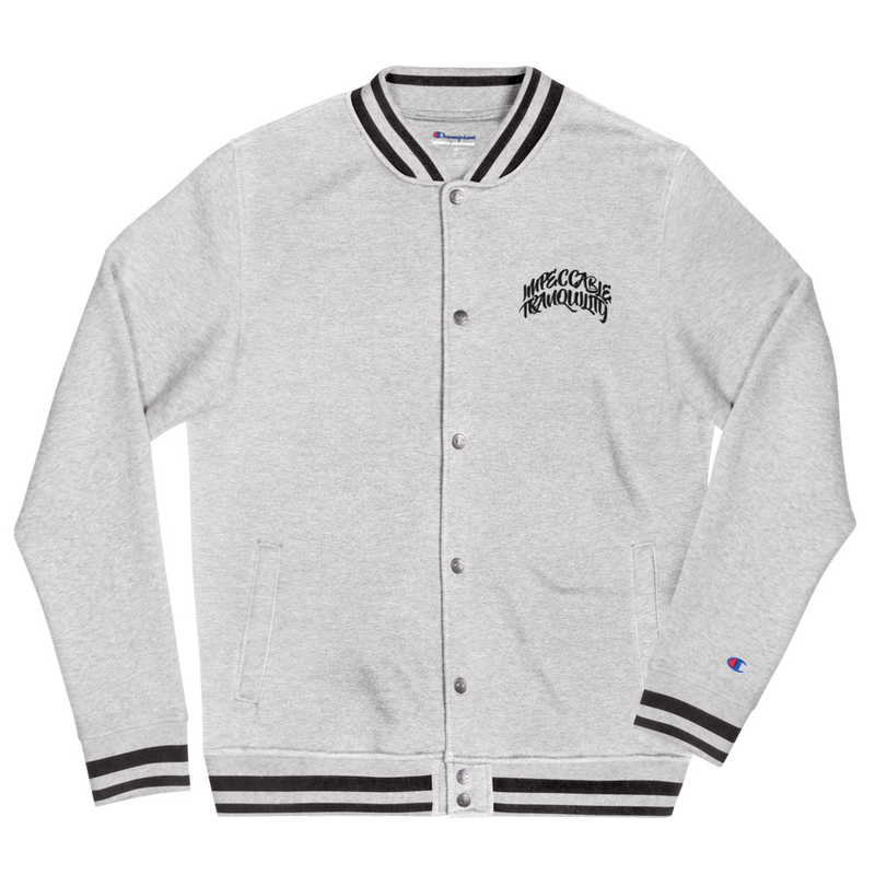 Impeccable Tranquility - Embroidered Champion Bomber Jacket Oxford Grey