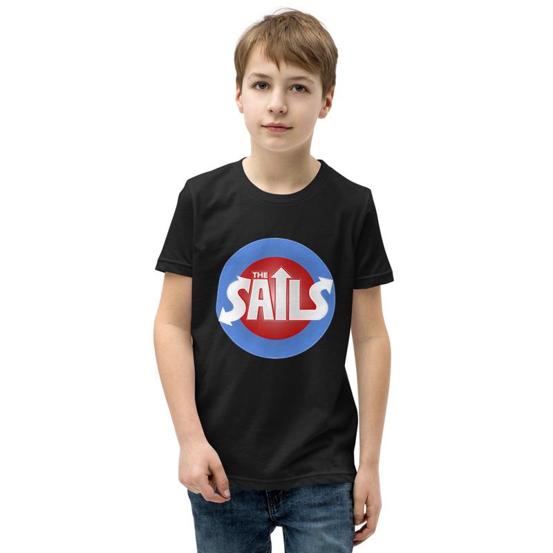 Youth Short Sleeve T-Shirt (Red/Blue Logo on Black)