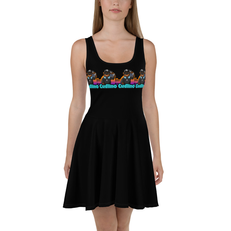 Cudlino Music On Blast Logo - Black Skater Dress