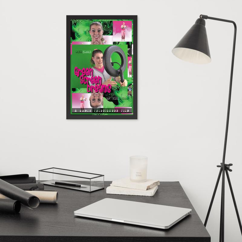 Green Screen Dreams framed (Black/White) poster 12 in. x 18 in.