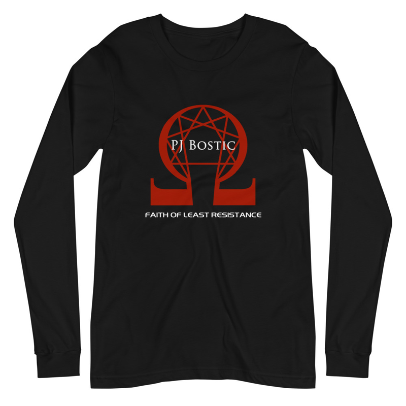 Faith of Least Resistance Long Sleeve Tee (black w/red logo, front & back print)
