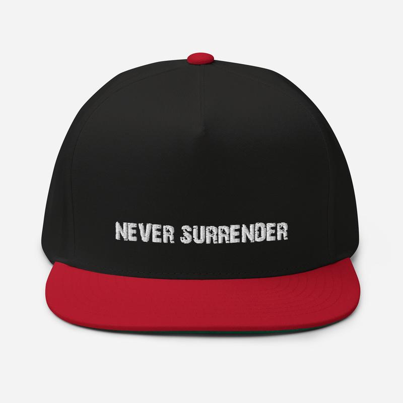 """Never Surrender"" Flat Bill Cap (Billy Falcon Eph. 6:12 on back)"