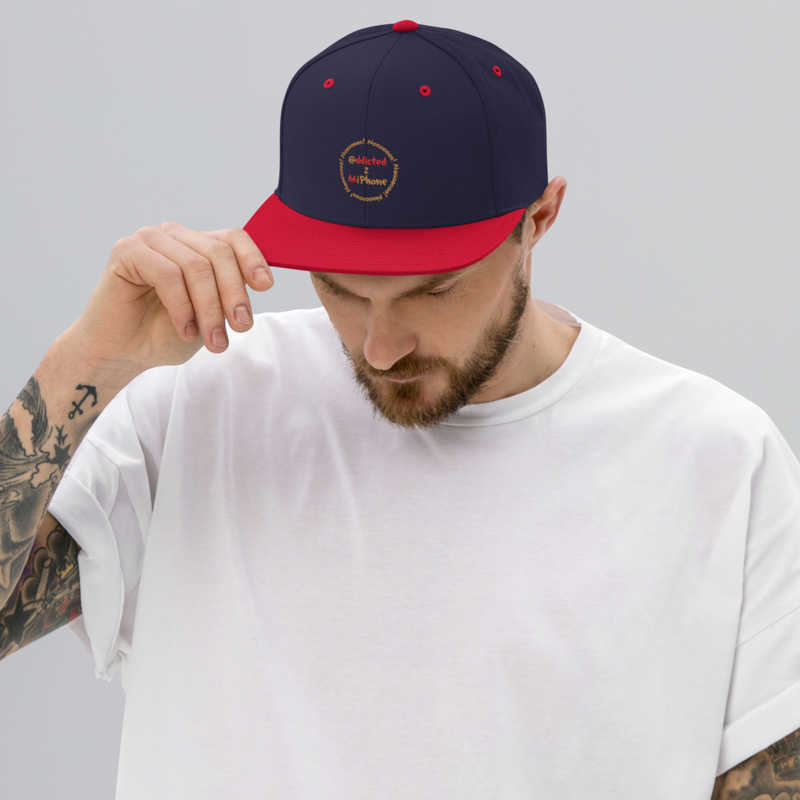 """""""@ddicted 2 Mi Phone"""" - Gold + Red Text + Gold Nooo! Ring - Adjustable Snapback Hat"""