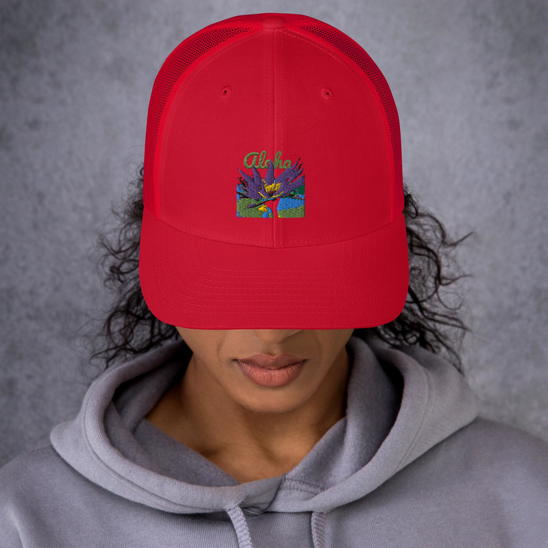 Embroidered Lotus Trucker Cap