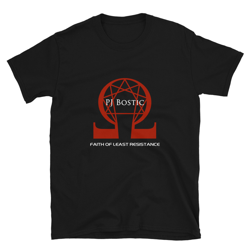 Faith of Least Resistance T-shirt (black w/red logo, front & back print)