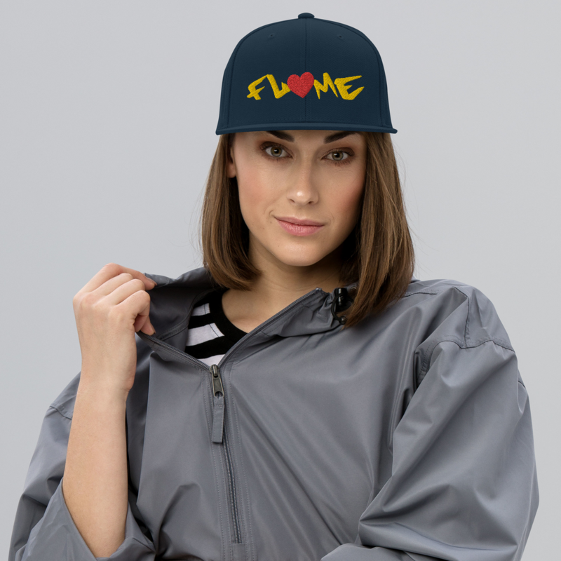"""""""Don't Go!"""" Flame Text + Heart - Adjustable Snapback Hat"""