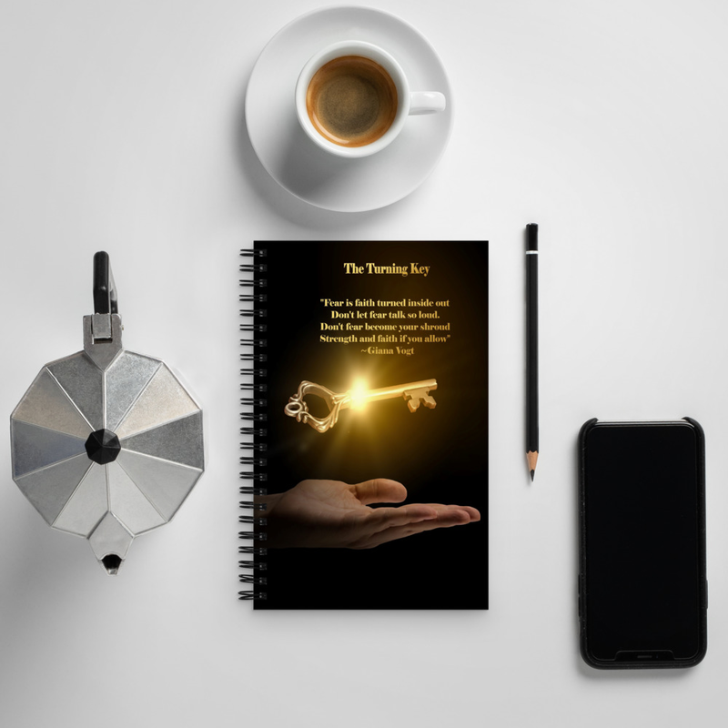 The Turning Key Gold On Black Spiral notebook