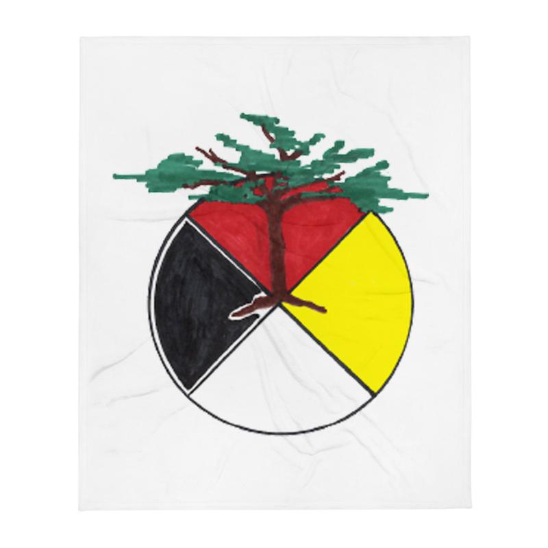 Medicine Wheel with Tree (Support Sundance) - Throw Blanket