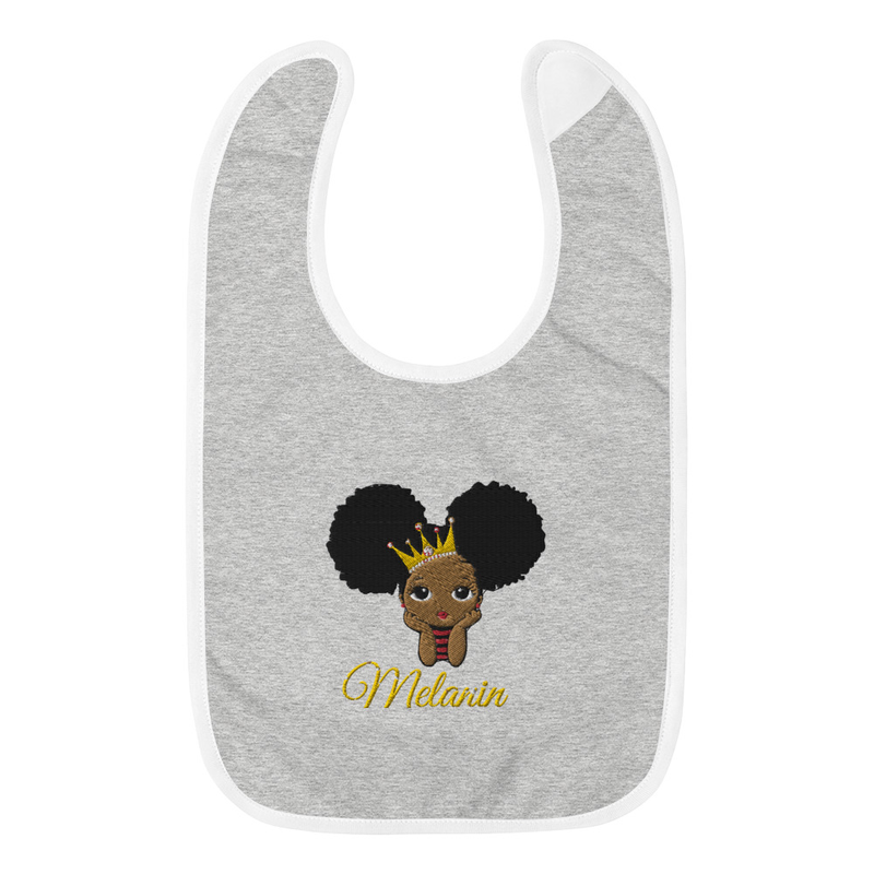 Princess Melanin Embroidered Baby Bib