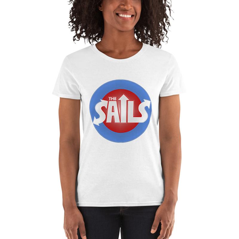 Women's short sleeve t-shirt (Red/Blue Logo on Black or White)