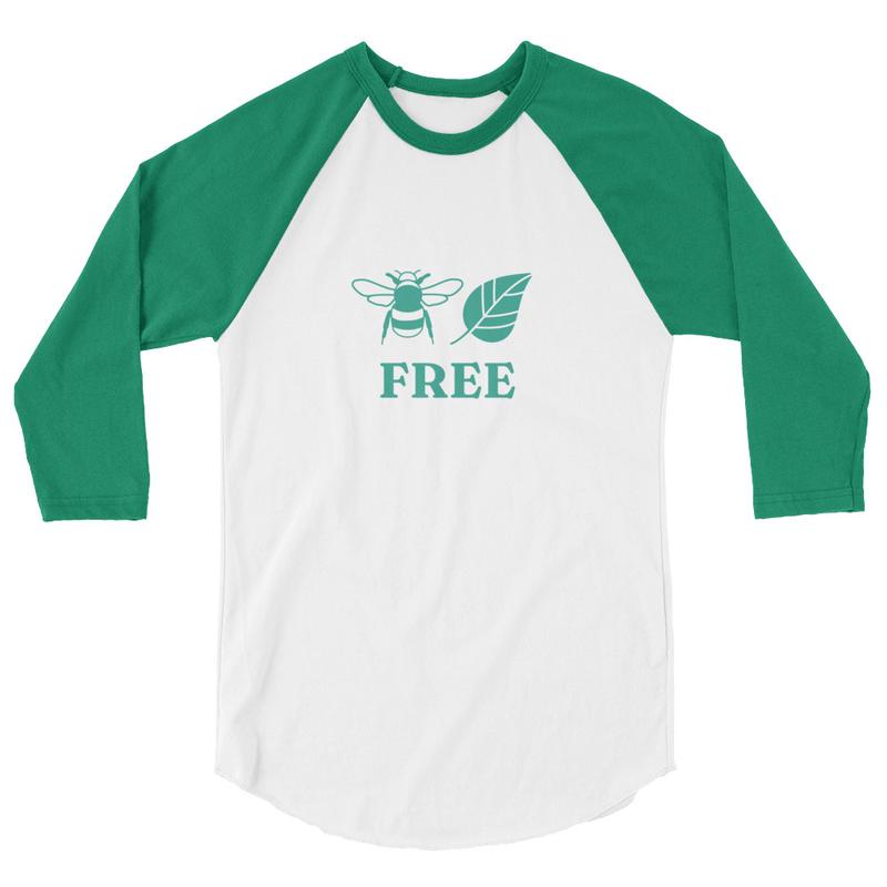 3/4 sleeve BEE LEAF FREE raglan shirt