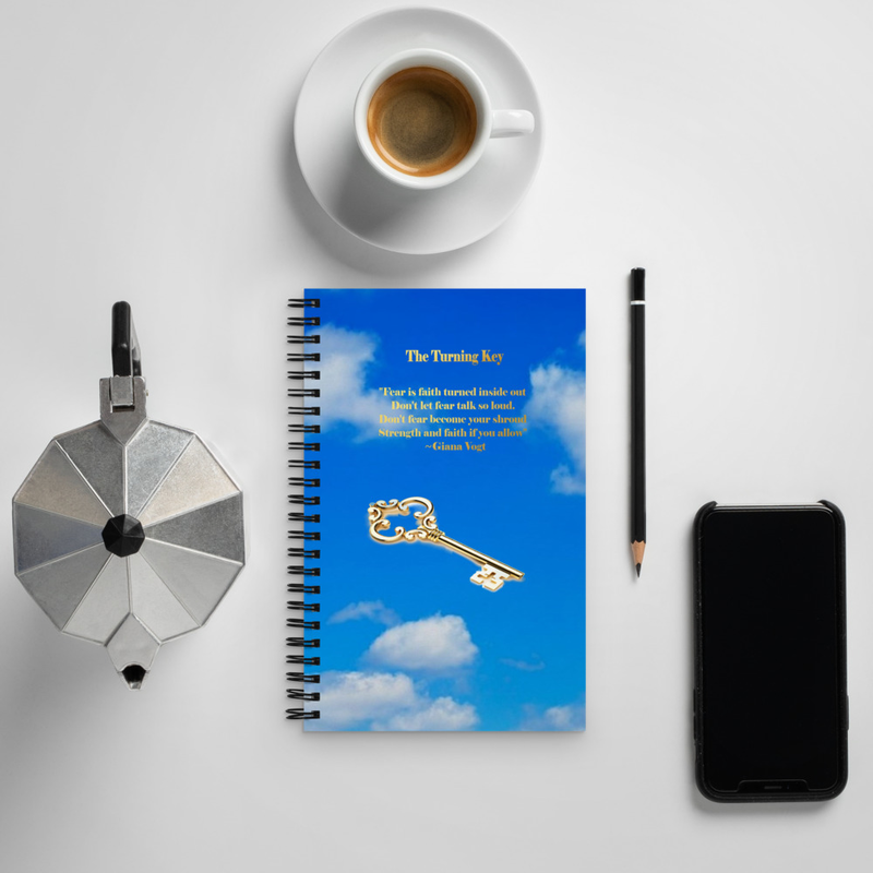 The Turning key Gold On Blue Spiral notebook