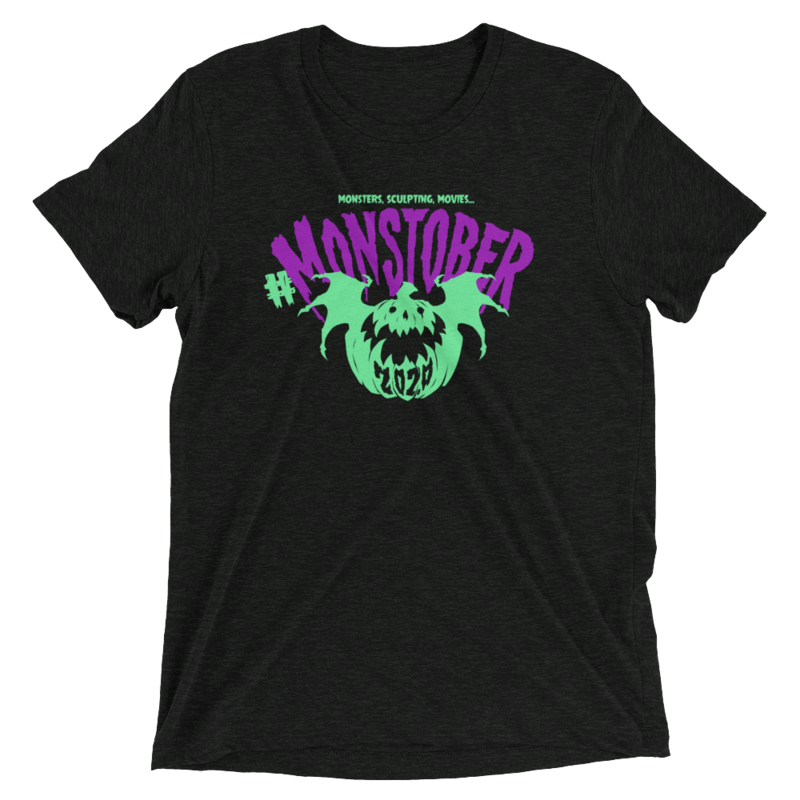 Monstober2020 MonsTee - Bella + Canvas 3413 Unisex Triblend Short Sleeve T-Shirt with Tear Away Label (Charcoal-Black Triblend)