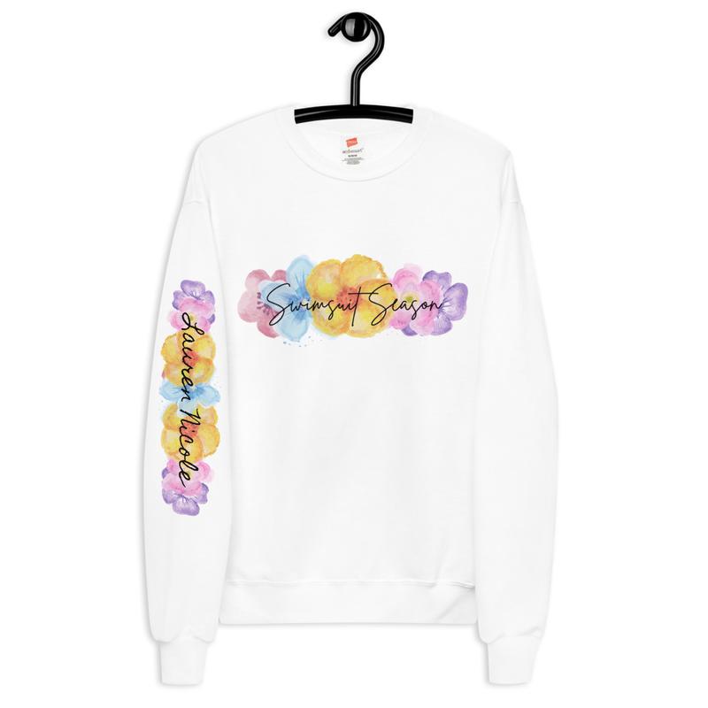 Floral Swimsuit Season Unisex fleece sweatshirt