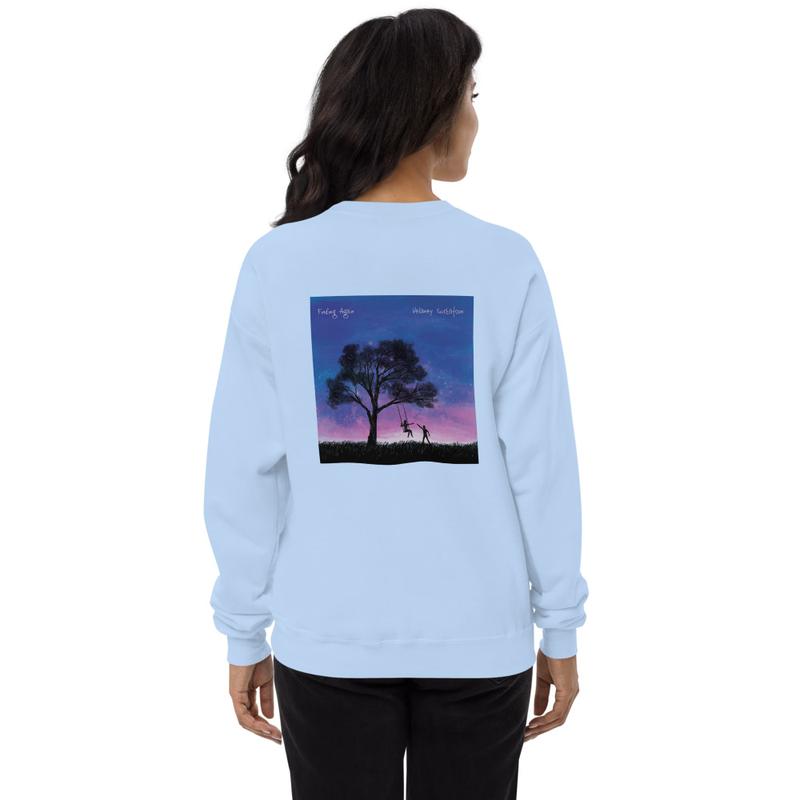 """Unisex """"Finding Again"""" and logo fleece sweatshirt"""