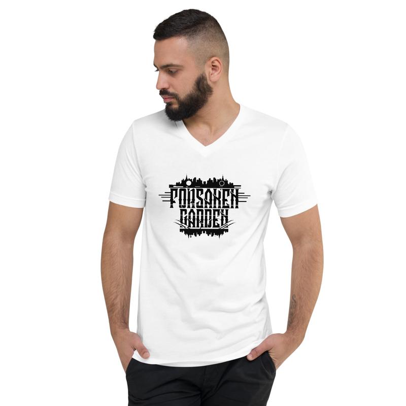 Forsaken Garden Logo Unisex Short Sleeve V-Neck T-Shirt White