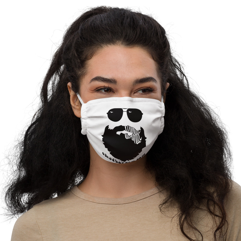 Chad Borgen Beard Logo Face Mask (White)