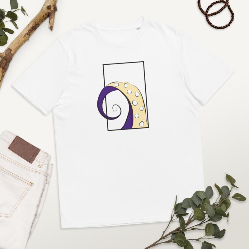 Octopus5 - Hvid Økologisk Bomuld T-shirt