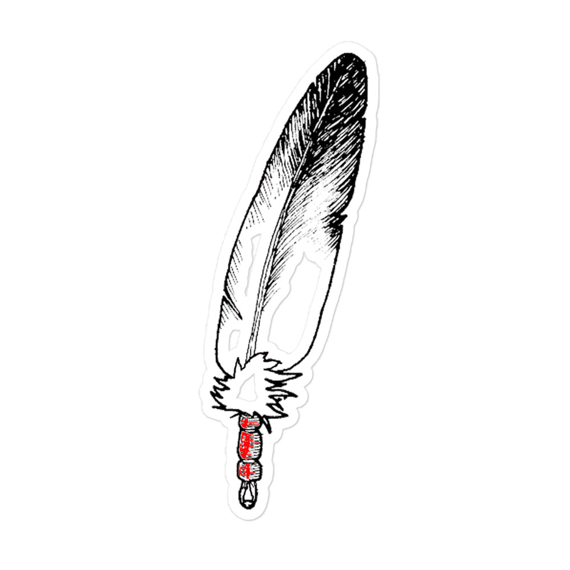 Eagle-Feather-RedWrap-Drawing (Left-Side) - Bubble-free stickers