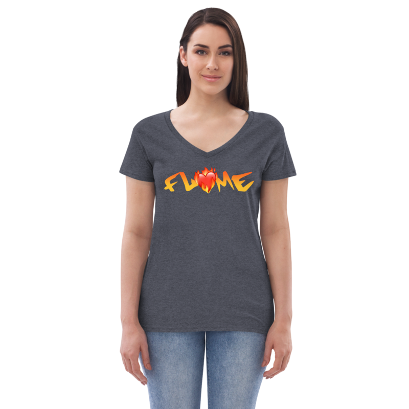 """""""Don't Go!"""" - Flame Text + Heart - Women's Eco V-Neck T-Shirt"""