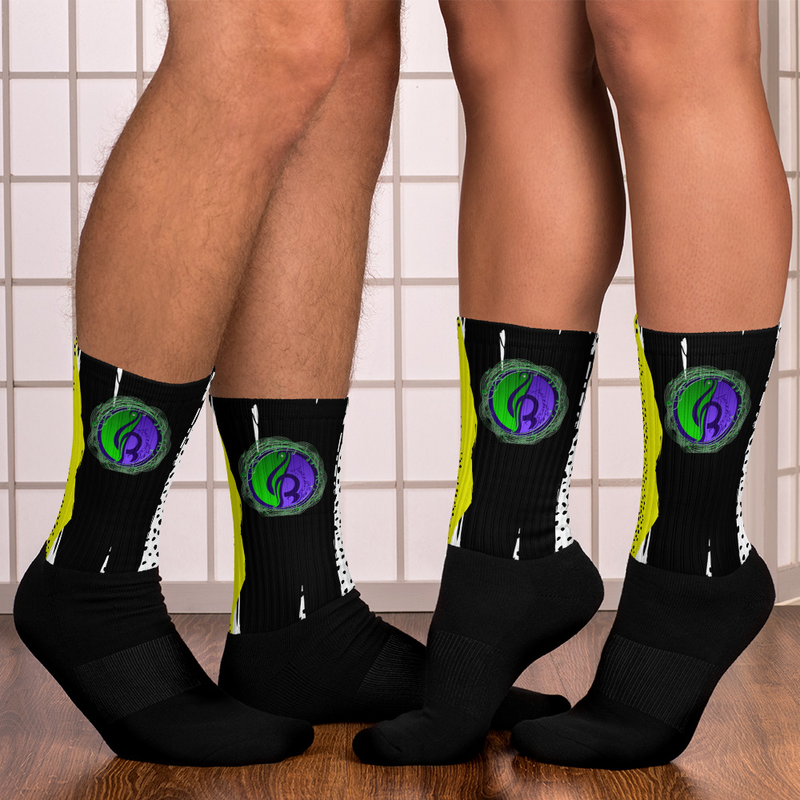 Black & Yellow Abstract Logo Socks