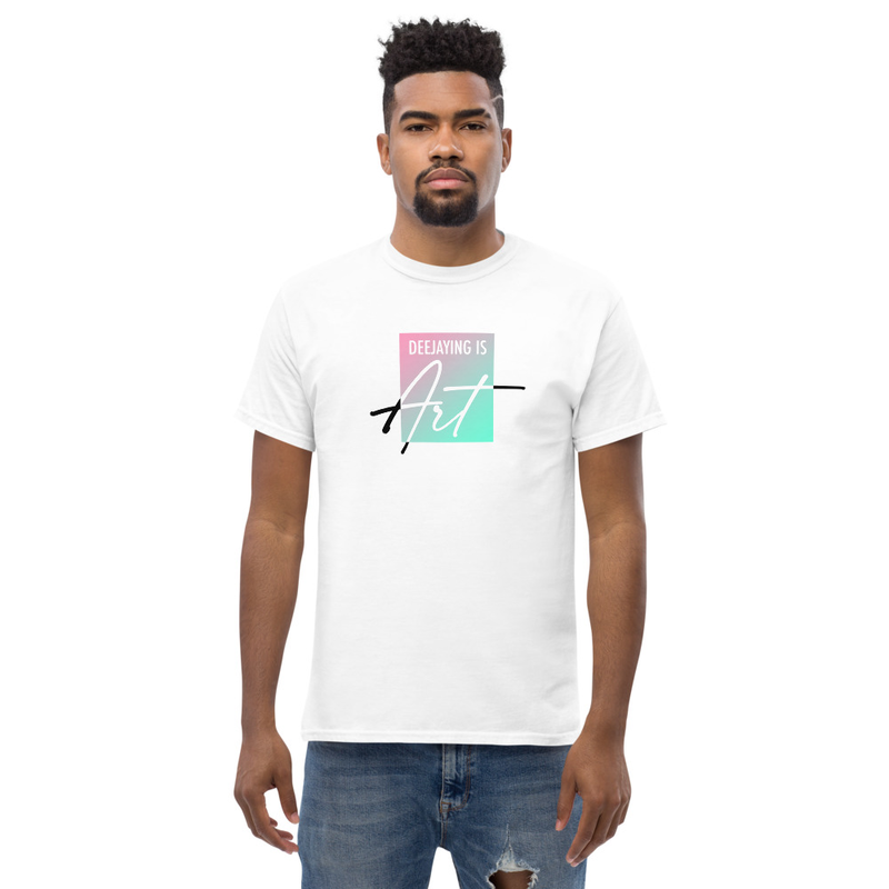 """T-Shirt """"Deejaying is art"""" (white)"""