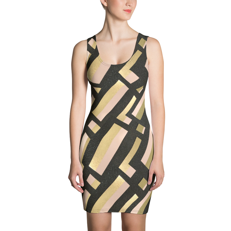 Black Geo Sublimation Cut & Sew Dress
