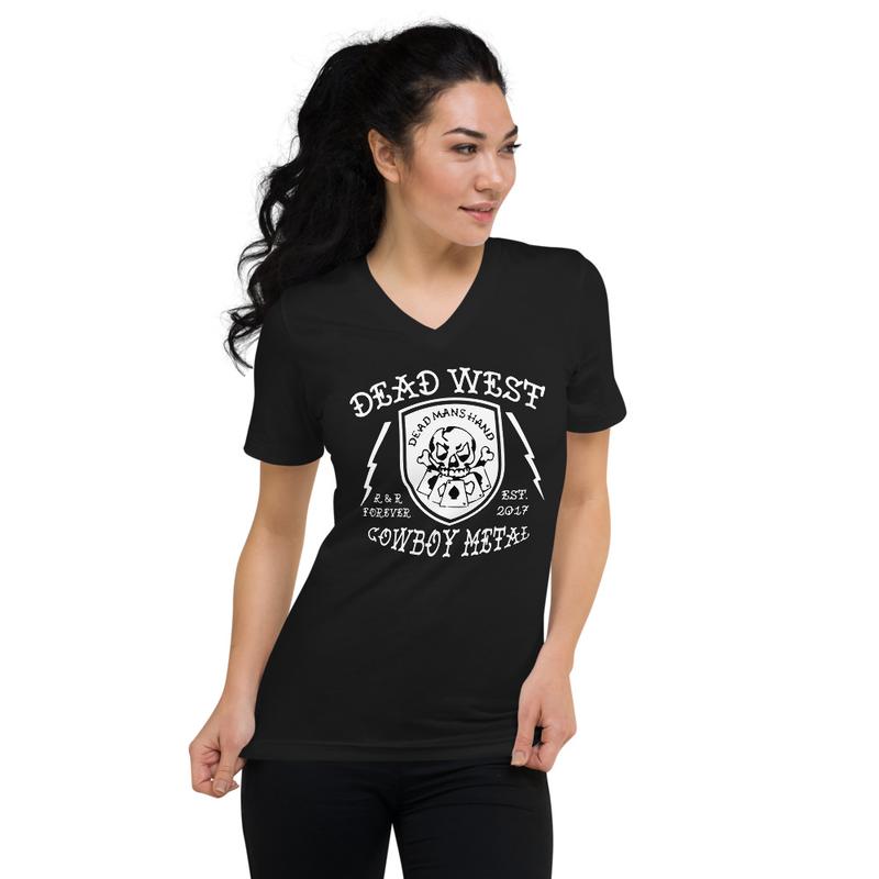 DEAD WEST Cowboy Metal Unisex Short Sleeve V-Neck T-Shirt